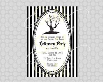 SALE: Tim Burton Style Halloween Party Invitation - Halloween Birthday Shower Invite - Printable 5x7 Invite