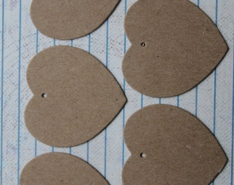 100 kraft brown chipboard Heart Charm Tags Die cuts 1 3/4 inches