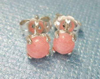 4mm Rhodochrosite Cabochon Sterling Silver Stud Earrings - Gift