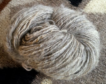 Art yarn handspun SALE buy 3 get 1 free Wild Hare 3.1 oz. natural gray uncarded wool