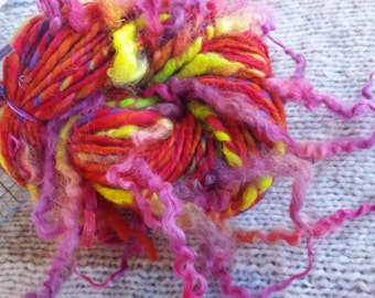 Art yarn handspun SALE buy 3 get 1 free Bee Balm 3.1 oz. wool locks curls tail spun