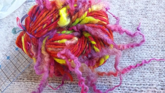 Art yarn handspun SALE buy 3 get 1 free Bee Balm 3.1 oz. wool locks curls tail spun