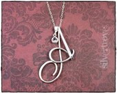 Cursive Initial Necklace Personalized Calligraphy Sterling Silver Wire Pendant with Birthstone Charm and Chain Alphabet Charm