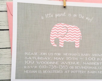 Baby Shower Invitation Girl Baby Girl Chevron Elephant