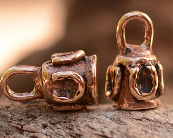 4mm Horse Shoe Adorned End Caps in Copper Bronze, AD-307c