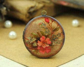 1pcs Vintage Flower Locket Antique Bronze Brass Photo Locket Charm Pendant 32mm 25mm 20mm Locket - HLK018A