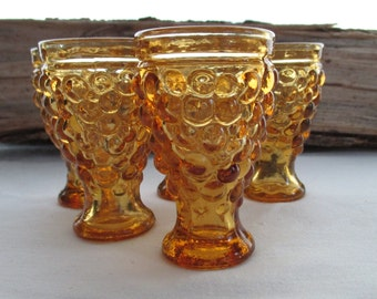 5 Vintage Amber Bubble Glasses// Cordial or Shot Glasses