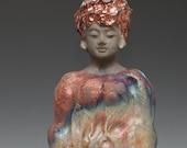 Copper Red Blue Silver Raku Buddha Kwan Yin Goddess Statue
