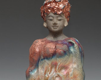 Copper Red Blue Silver Raku Buddha Kwan Yin Goddess Statue
