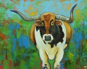 Longhorn painting 4 18x24inch animal original oil painting by Roz