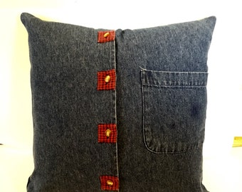 Upcycled Denim Blue Jean Pillow