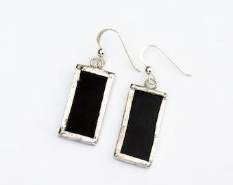 Stained Glass Earrings -  Black Rectangle Earrings