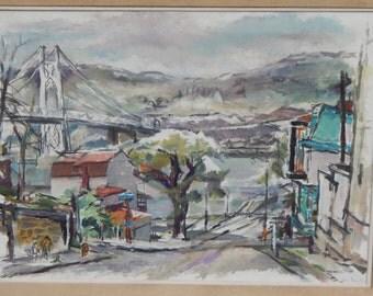 Lewis Rubenstein (1908 - 2003) - listed artist - Vintage LARGE Impressionistic Oil Painting