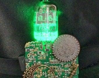 Green geeky steampunk vacuum tube brooch - LED jewelry brooch - geeky vacuum tube jewelry - light up jewelry - PC board jewelry