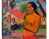 Paul Gauguin - Woman Holding a Fruit - 1977 Vintage Book Page - Tipped In Plate - Masterpiece Painting - Reproduction Print - 12 x 10