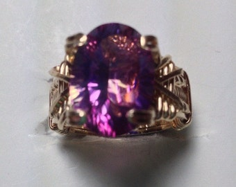 Pink Mystic Topaz Gold filled ring