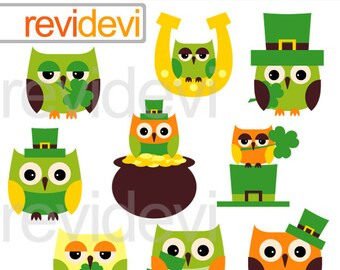 Clipart St. Patrick's Day - St. Patrick's Owls clip art - commercial use, instant download