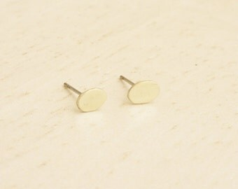 Teeny Tiny Brass Gold Oval Stud Earrings with 925 Sterling Silver Post,Oval Post Earrings Bridesmaids Gift Minimal Jewelry,Everyday Jewelry