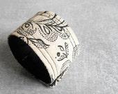 Modern Fabric Bracelet // Vintage Fabric Cuff Bracelet // Boho Hippie Bracelet Eco Friendly Handmade Jewelry by Luluanne ON SALE