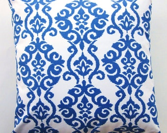 Blue Pillow Cover -- Dark Blue and White Damask Cushion Cover -- 18 x 18