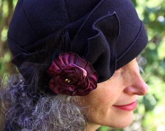 Flapper Turban - Polar Fleece Ladies Hat - Black with Pink rose - Eloise