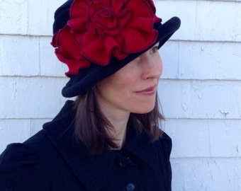 Ladies Fleece Edwardian Suffragette Hat - Black and Cherry Red - Margaret