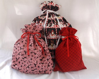 Christmas Gift Bags - 3 Red Penguin Peppermint -  Reusable Eco-Friendly Cotton Fabric