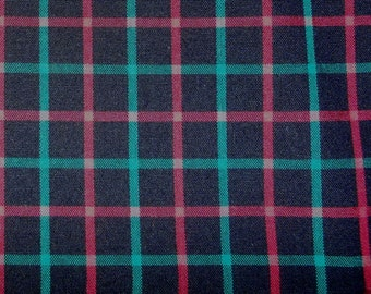 green red black plaid fabric - 1 2/3 yards