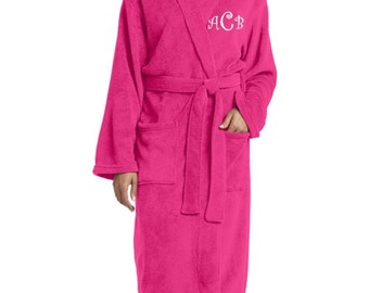 Robe for Men or Women - Soft Plush Microfleece Collar Robe Plus Pockets - Monogrammed!  Personalized bridesmaids bride wedding