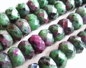 Large faceted ruby fuschite semiprecious gemstone rondelles - 8mm X 5mm beads