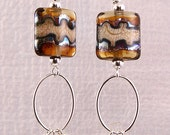 Lampwork Earrings -Rootbeer Gold Metallic Lampwork Swarovski Crystal Dangle Earrings - KTBL
