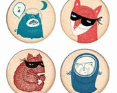 Cute Critters Magnets or Pinback Buttons or Flatback Medallions Set of 4