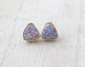 Druzy Studs, Lavender Quartz Petite Triangle Post Earrings in Gold, Silver, Rose Gold, Gift Ideas - Frozen Fig