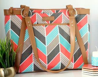 Less than Perfect- Chevron Laptop Bag in Coral and Turquoise Chevron - Laptop Bag, Laptop Tote, Canvas and Vegan Leather