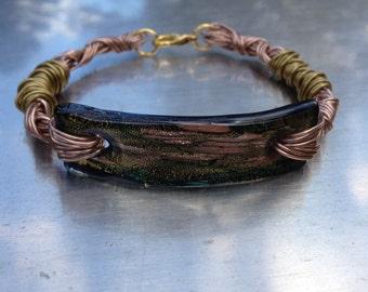 Green Glass and Wirework Bracelet