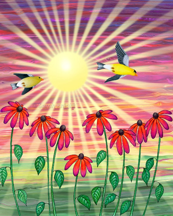 goldfinches sunshine flight - signed digital illustration art print 8X10 inches, goldfinch red green flowers yellow birds whimsical picture