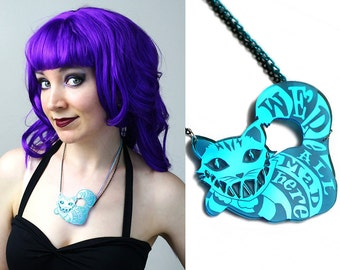 Cheshire Cat - We're All Mad Here blue acrylic necklace - smarmyclothes Alice in Wonderland