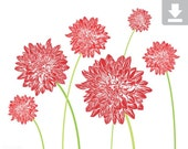 Art Print, Flower, Dahlia, Garden, Bloom, Printable, Digital File, Instant Download, Botanical, Stems, Green, Red, Crimson, Dark, 5x7, 8x10