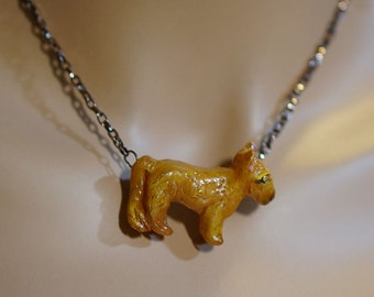 Lion Cub Pendant, Polymer Clay Charm, Baby Lion Necklace, Hand Made Jewelry, 17 inch Chain
