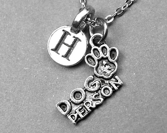 Dog Necklace, Dog Person Necklace, Dog Charm, Dog Paw Jewelry, personalized jewelry, initial necklace, monogram letter, dog lover gift
