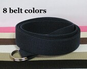 Canvas Belt / D-Ring Belt / Solid Color Belt in Khaki, Black, White, Navy, Pink, Green - for boys teens men women Big & Tall and Plus Size