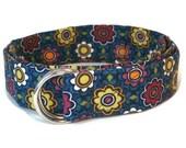 Blue D-ring Belt- Flowered Fabric Belt- 1 inch Ribbon Belt for babies, toddlers girls and women's waist- Preppy Kids Cloth Belt- Floral Belt