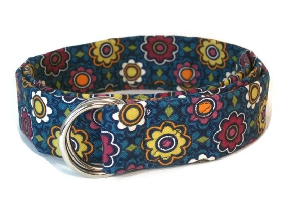 Blue D-ring Belt- Flowered Fabric Belt- 1 inch Ribbon Belt for babies, toddlers girls and women's waist- Preppy Kids Cloth Belt- Floral Belt