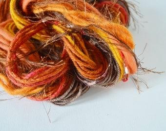 Autumnal Yarn Bundle/ Fringe Kit for Fiber Arts, Scrapbooking, Creative Gift Wrap, Crafts. DIY Yarn Kit, 20+ Yards in Set 1.
