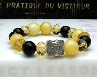 Honey Yellow Black Modern Beaded Bracelet, Calcite Onyx Stretch Bracelet, Gift for Her Under 150, Girlfriend or Mom gift, One of a Kind