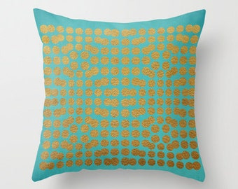 Decorative pillow cover- holiday decor- teal- gold- turquoise- geometric- home decor- dorm decor