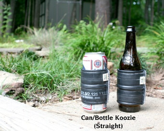 Recycled bike tube and sweater beverage cooler. Bottles or cans, pint glasses or coffee cups!