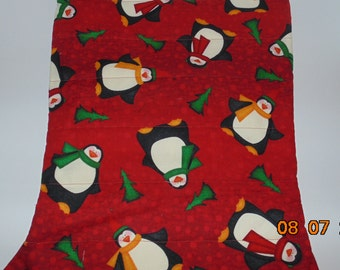 Oversized Quilted Christmas Stocking Penguins christmas trees Cute Free Personalization