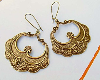 brass Gypsy earrings bohemian earrings hoop dangle Morrocan Art Nouveau Bohemian Jewelry