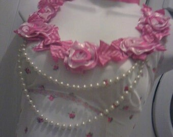 cute ROSE and pearls pink and white VINTAGE upcycled slip dress carrie pin up reconstructed satc party US size 10 - 12